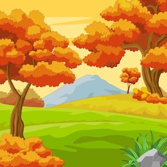 Fundo de floresta de outono com montanha