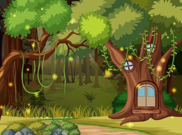 Fundo de floresta encantado com casa na árvore