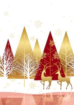 Fundo de floresta inverno sem costura com renas. horizontalmente repetitivo.