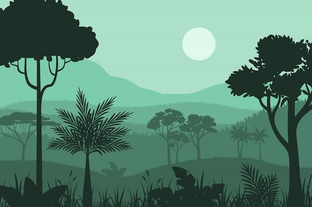 Fundo de floresta silhueta