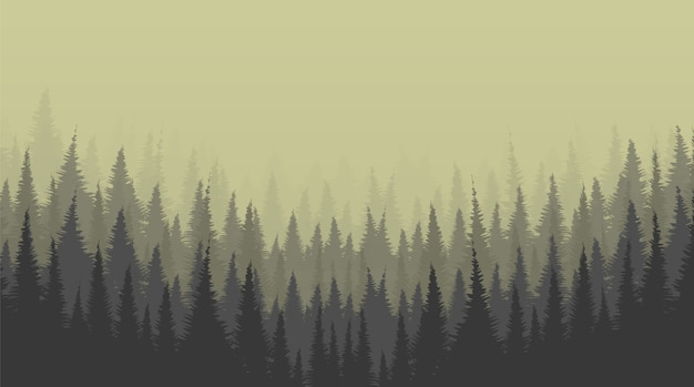 Fundo de foggy pine forest, conceito de lonely scene