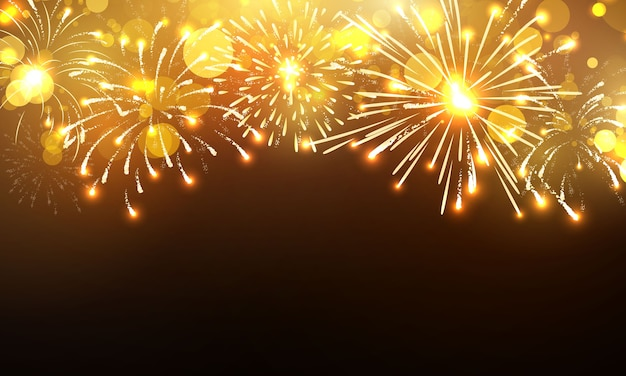 Fundo de fogo de artifício, design de celebração feliz ano novo ouro.