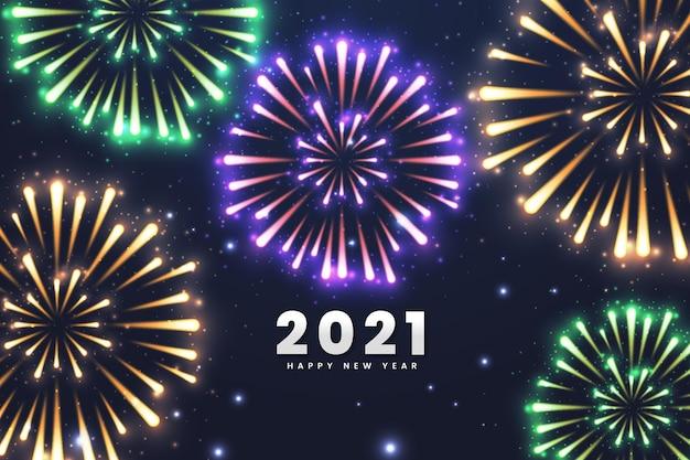 Fundo de fogos de artifício ano novo de 2021