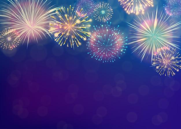 Fundo de fogos de artifício. conceito de celebração do ano novo.