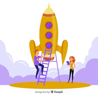 Fundo de foguete de construção de equipe