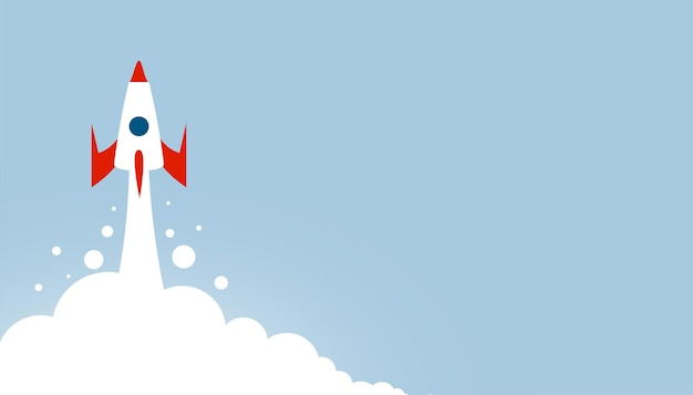 Fundo de foguete voador com espaço de texto