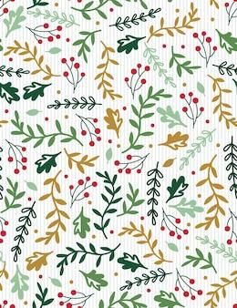 Fundo de folha de azevinho sem costura com cor vermelha e verde