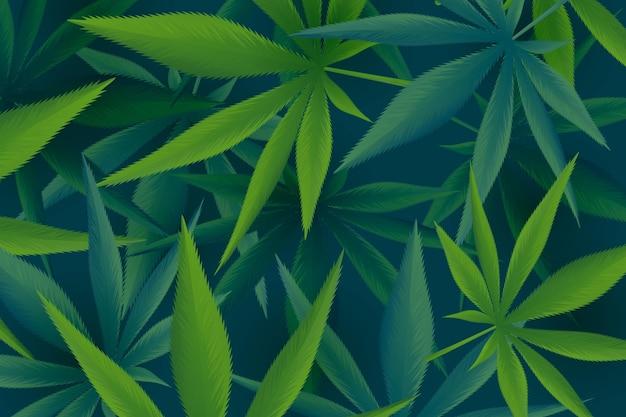 Fundo de folha de cannabis com ilustração realista