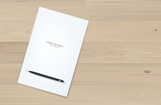 Fundo de folha de papel branco e lápis metálico preto sobre madeira