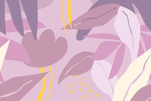 Fundo de folha roxa, vetor de padrão tropical sem emenda