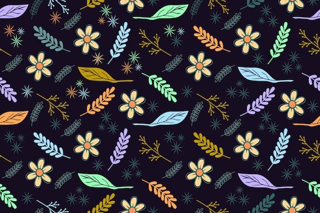 Fundo de folha sem costura padrão desenhado à mão