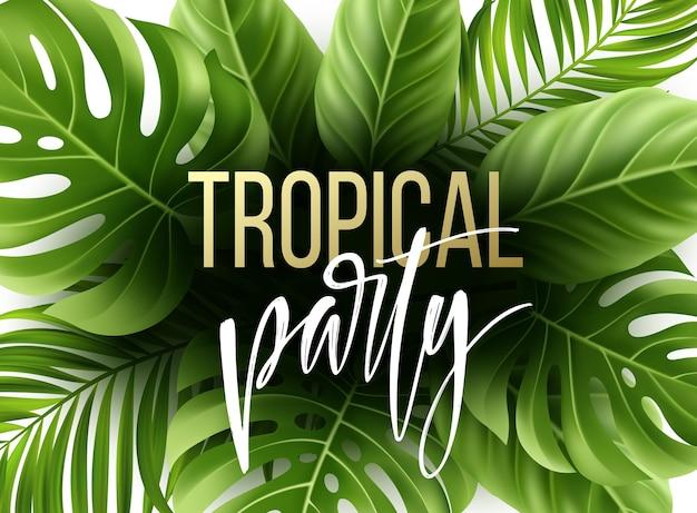 Fundo de folha tropical de verão com folhas de palmeira exóticas.