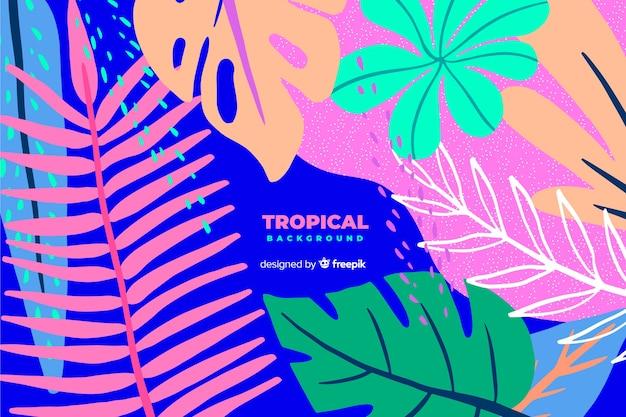Fundo de folhas coloridas tropicais mão desenhada