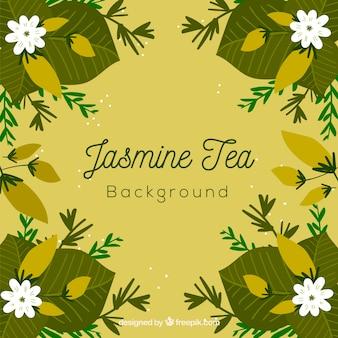 Fundo de folhas de chá com aroma de jasmim