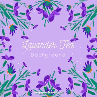 Fundo de folhas de chá com aroma de lavanda