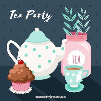 Fundo de folhas de chá com bule de chá