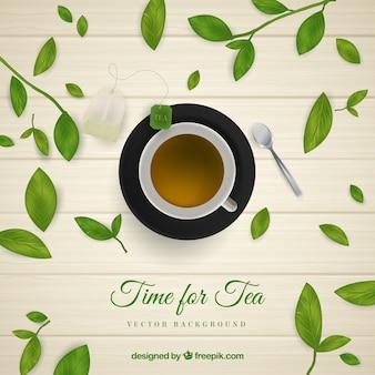 Fundo de folhas de chá com estilo realista