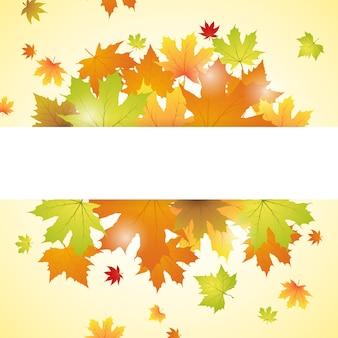 Fundo de folhas de outono com espaço de texto Vetor Premium