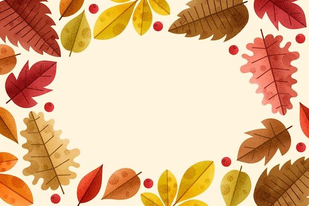 Fundo de folhas de outono desenhadas à mão