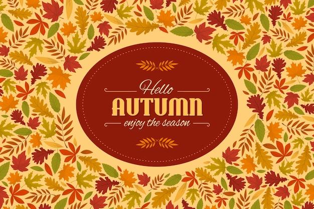 Fundo de folhas de outono design plano
