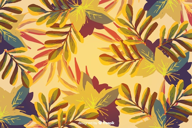 Fundo de folhas de outono em aquarela em aquarela