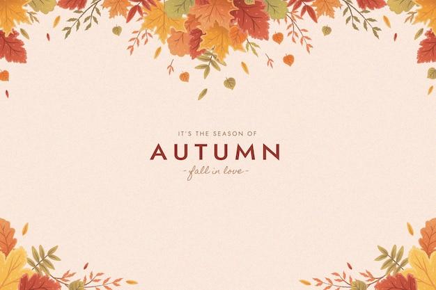 Fundo de folhas de outono plana