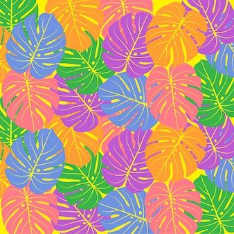 Fundo de folhas de palmeira colorido