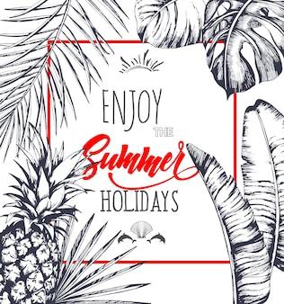 Fundo de folhas de palmeira tropical. convite ou design de cartão com folhas de selva.