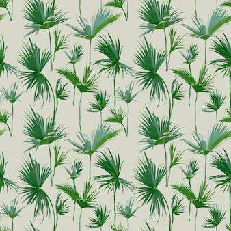 Fundo de folhas de palmeira tropical sem emenda. textura exótica de verão - para design, álbum de recortes