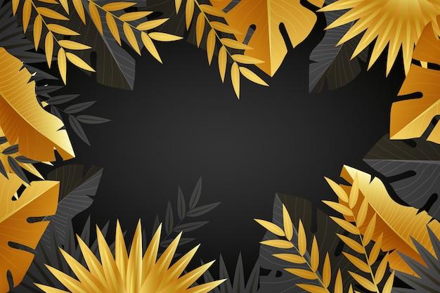 Fundo de folhas douradas realista