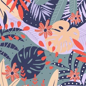 Fundo de folhas e flores tropicais brilhantes