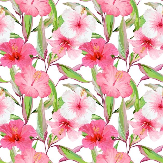 Fundo de folhas e flores tropicais. padrão sem emenda. desenho vetorial