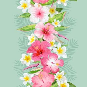 Fundo de folhas e flores tropicais. padrão sem emenda em vetor