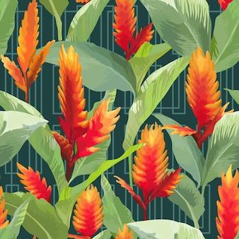 Fundo de folhas e flores tropicais. padrão uniforme em