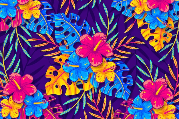 Fundo de folhas e flores tropicais para zoom