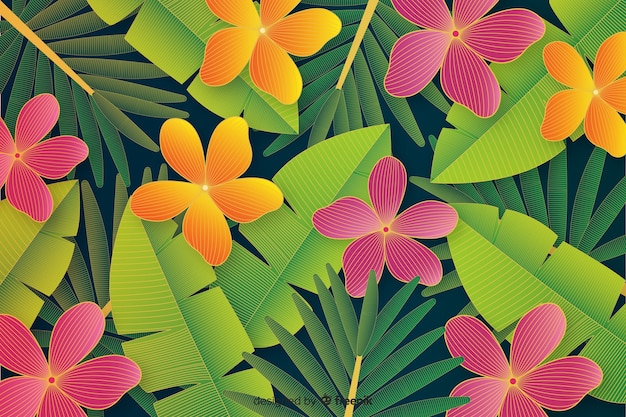 Fundo de folhas e flores tropical realista