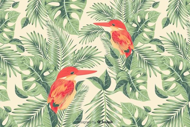 Fundo de folhas e pássaros tropical realista