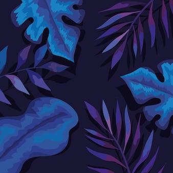 Fundo de folhas e ramos azuis