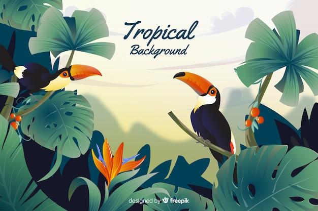 Fundo de folhas e tucanos tropicais