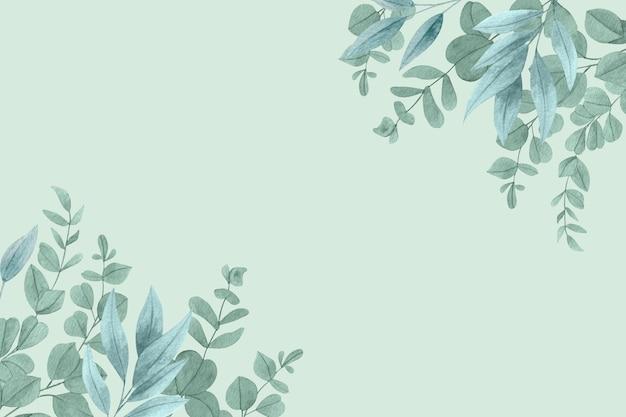 Fundo de folhas em aquarela