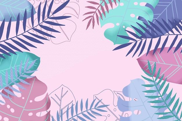 Fundo de folhas em tons pastel para comunicação por vídeo