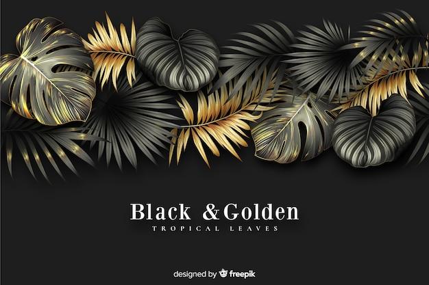 Fundo de folhas escuras e douradas realista