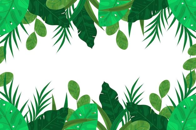 Fundo de folhas exóticas de design plano