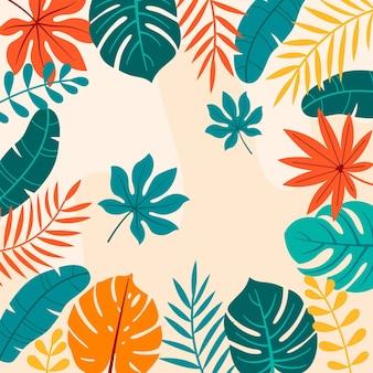 Fundo de folhas tropicais de desenho animado