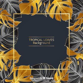 Fundo de folhas tropicais de preto e dourado