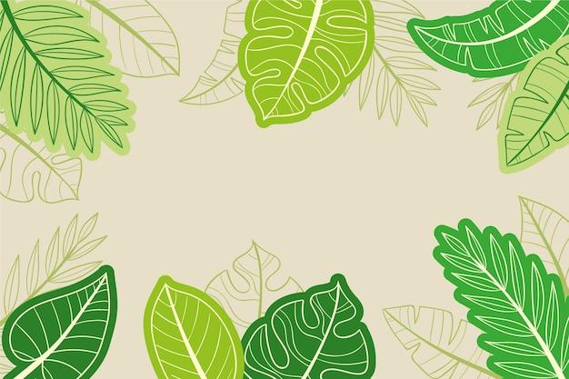Fundo de folhas tropicais desenhadas à mão