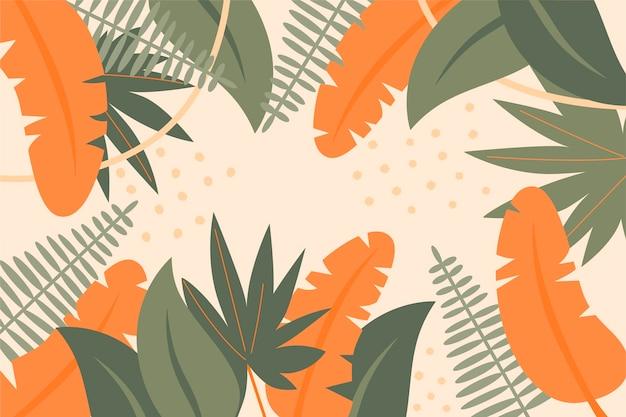 Fundo de folhas tropicais desenhadas