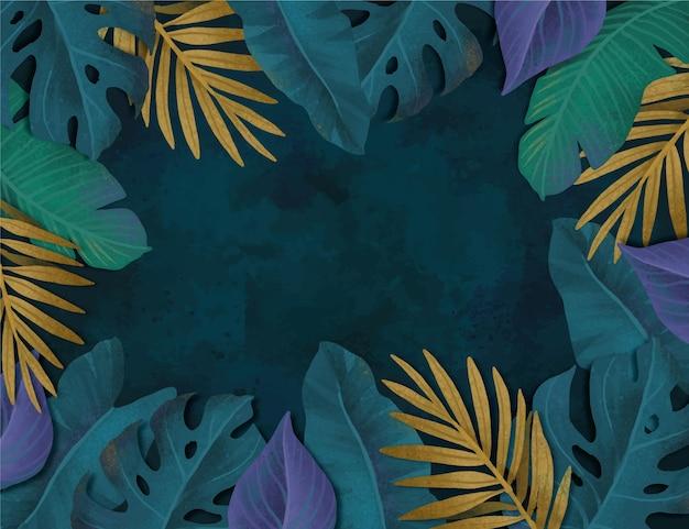 Fundo de folhas tropicais em aquarela pintada à mão