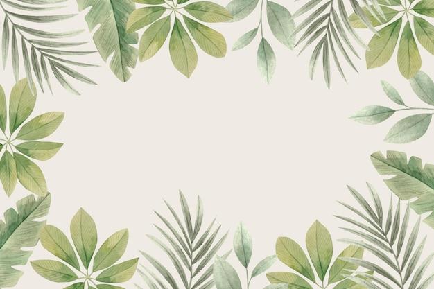 Fundo de folhas tropicais em aquarela