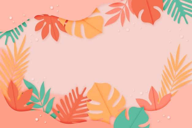 Fundo de folhas tropicais em estilo de papel